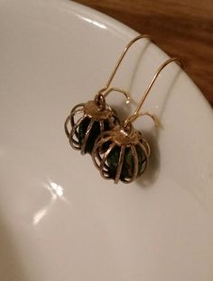 Earrings French wire gold tone with black stones
