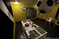 Soccer theme birthday party.