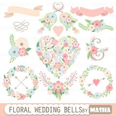 "Floral wedding clipart: ""FLORAL WEDDING BELLS"" with floral heart clipart flower wreaths ribbons flower bouquets for wedding invitations"
