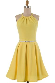 Yellow Pleated Dress
