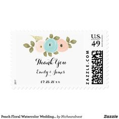 Peach Floral Watercolor Wedding Thank You Stamp