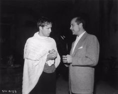 """Marlon Brando with Tennessee Williams on the set of """"A Streetcar Named Desire"""" C.1951."""
