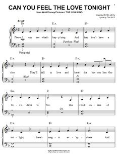 Elton John : Can You Feel The Love Tonight - Sheet Music Download First dance