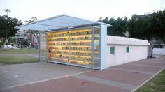 """El  jardín Biblioteca Levinski, en el Levinski Park de Tel Aviv, fue creado por Yoav Meiri como un """"proyecto de la comunidad socio-artística urbana."""" Cuenta con unos 3.500 libros en 14 idiomas."""