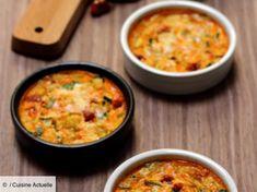Recette Clafoutis salé: courgette, chorizo et parmesan. Ingrédients (6 personnes) : 1 petite courgette, 50g de chorizo, 2 oeufs... - Découvrez toutes nos idées de repas et recettes sur Cuisine Actuelle