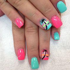 18 Cute And Colorful Tropical Nails Art Ideas - Best Nail Art Tropical Nail Art, Tropical Nail Designs, Style Tropical, Hawaiian Nail Art, Cruise Nails, Palm Tree Nails, Toe Nail Designs, Beach Nail Designs, Fingernail Designs