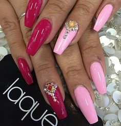 Red pink acrylic nails long nailjewelry