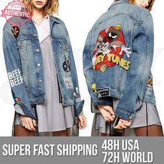 Zara Women's Looney Tunes Denim Jacket 6840 242 Limited Edition 16' | eBay