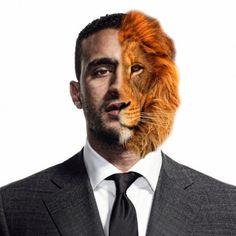 Half Human - Half Lion Face