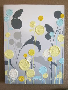 Yellow and Grey Art / Textured Flowers and by MurrayDesignShop