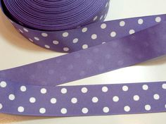 "Purple Ribbon, Purple White Swiss Dot Grosgrain Ribbon 1 1/2"" wide x 10 yards #Offray"