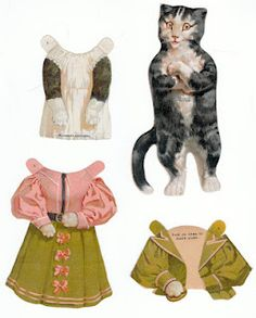 The Paper Collector: Mrs. Cat, McLaughlin Coffee paper doll, c. Victorian Paper Dolls, Vintage Paper Dolls, Paper Art, Paper Crafts, Paper People, Paper Animals, Up Book, Vintage Cat, Paper Toys