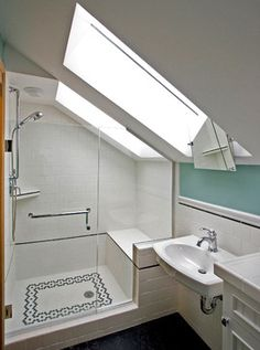 Clever to use the lower part of the ceiling for the shower shelf.  Also clever…