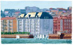 Exit of the sailboats, Santander. Gouache, 26 x cm. Sailboats, Gouache, Landscapes, Watercolor, Portrait, Places, Illustration, Artists, Sailing Ships