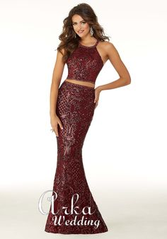 Morilee Prom 45038 Sultry two-piece gown with patterned sequins on net and beautiful beaded trim. This dress features a halter neck and crisscross, keyhole ba Mori Lee Prom Dresses, Pageant Dresses, Homecoming Dresses, Two Piece Long Dress, Prom Dresses Two Piece, Sweet Sixteen Dresses, Prom Dress Stores, Designer Prom Dresses, Perfect Prom Dress