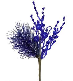 "13"""" Sparkling Cobalt Blue Glittered Ball and Pine Christmas Spray"