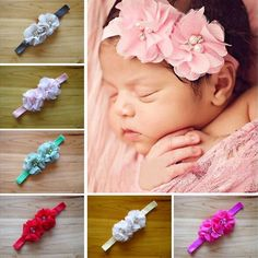 $1.45 (Buy here: http://appdeal.ru/528w ) 2015 Newborn Headwear Baby Infant Flower Headband Baby Chiffon Paerl Rhinestone Flower Elastic Bands Hair Accessories  W--045 for just $1.45