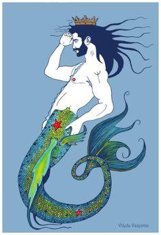 Adult Cartoons, Merman, Bear Art, Cool Art, Nice Art, It Works, Ocean, Fish, Fantasy