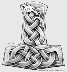Viking Thors Hammer Urnes Style Tattoos For Men - Tattoo Ideas Norse Tattoo, Tattoo On, Celtic Tattoos, Viking Tattoos, Sword Tattoo, Viking Designs, Celtic Designs, Viking Symbols, Viking Art