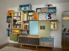 Applying Box Shelving With Wall Art for Home Design : Eclectic Living Room Bookcase Reclaimed Furniture, Repurposed Furniture, Diy Furniture, Furniture Design, Vintage Furniture, Modern Furniture, Repurposed Items, Garden Furniture, Goodwill Furniture