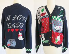Vintage Faith Mountain cotton Cat cardigan size by DustyDesert, $24.00