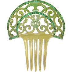 Edwardian Hair Comb Green Rhinestones ❤ liked on Polyvore featuring accessories, hair accessories, hair combs, rhinestone hair accessories, hair combs accessories, rhinestone hair comb and rhinestone comb