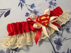 Superman or Supregirl Logo Bride's Garter in CUSTOM COLORS your choice to match your color scheme Geeky Comic Book Superhero Wedding on Etsy, $30.00