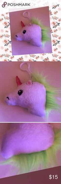 Kawaii unicorn Keychain plushie Unicorn Keychain is so cute ! New !! I only took off the tags because I thought of keeping it but then changed my mind only because I'll probably get it dirty pretty quickly :)! Make me a reasonable offer. No flaws. Accessories Key & Card Holders