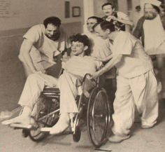 Brad Dourif as Billy Bibbit (in wheelchair), 1975. On set of One Flew Over the Cuckoo's Nest. Rare film still.