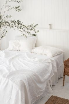 Mediterranean White. Santorini White. French Linen Bedding in White. Aesthetic Home Decor.