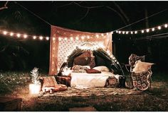 Fairy lights pillows tent