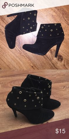 Black suede booties Black booties. Not real suede but they are real stylish. Gold grommet detail surround the top of the ankle. These aren't your basic black boots. Gently used. Qupid Shoes Ankle Boots & Booties