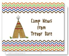 tee pee camp personalized stationery