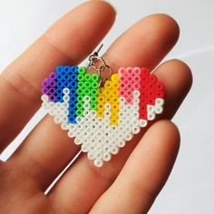 Colorful heart earrings! Made of mini Hama beads (similar to mini Perler beads but smaller!) by 8BitEarrings on Etsy.