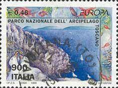 """1999 - """"Europa Unita"""": Parchi naturali - """"Parco Nazionale dell'Arcipelago Toscano"""", in primo piano gabbiani corsi"""