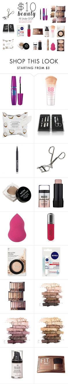 """""""$10 Beauty"""" by mxrgann ❤ liked on Polyvore featuring beauty, Maybelline, Sephora Collection, Revlon, NYX, Natio, Nivea, polyvorecontest and 10dollarbeauty"""