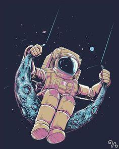 Astronaut illustration, moon illustration, astronaut wallpaper, wallpaper s Art And Illustration, Astronaut Illustration, Art Illustrations, Astronaut Drawing, Inspiration Art, Art Inspo, Illustrator Design, Illustrator Cs5, Astronaut Wallpaper