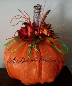 Fall Pumpkin Deco Mesh Centerpiece on Etsy, $75.00