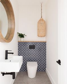 POWDER ROOM. | How lovely is this powder room featuring our Tall Natural Bamboo Lightshade? It's the perfect addition. ⠀⠀⠀⠀⠀⠀⠀⠀⠀ 📷… Small Bathroom Inspiration, Beautiful Small Bathrooms, Basin Mixer, Laundry In Bathroom, Black Accents, Powder Room, Matte Black, Bamboo, Oasis