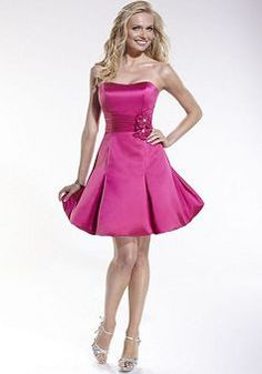 A line Satin Strapless With Flowers Sleeveless Short Length Homecoming Dress - Angeldress.co.uk