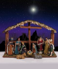 Christ is Born Polyresin Nativity Set with Stable (11 Piece)