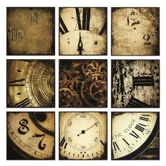IMAX Nouvelle Wall Decor - Set of 9 - 82053-9. IMAX Nouvelle Wall Decor - Set of 9 - 82053-9 Detail photos of antique wall clocks emblazon walls with vintage style in a nine piece wall panel set. Center panel contains a working clock mechanism. Product Specifications Dim.. . See More Wall Arts and Oil Paintings at http://www.ourgreatshop.com/Wall-Arts-Oil-Paintings-C711.aspx