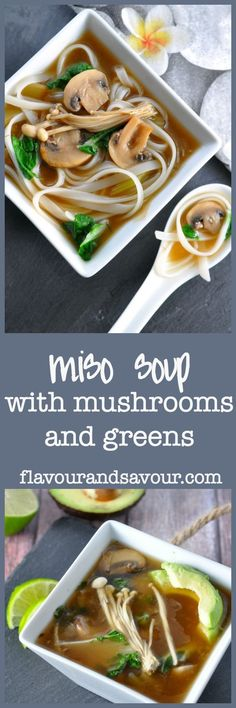 Treat yourself to some umami bliss with this easy recipe for Miso Soup with Mushrooms and Greens.  Naturally vegan and gluten-free.