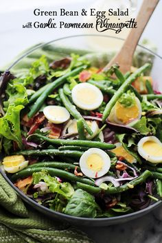 Green Bean and Egg Salad with Garlic Parmesan Vinaigrette