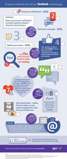 10 ways to make the most of your #Facebook business page #SocialMedia #Infographic