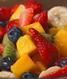 Beautiful Rainbow Fruit Salad with Honey Lime Dressing - Recipe, Healthy Cooking, Kid Friendly, Quick, Easy, Salad, Vegetarian