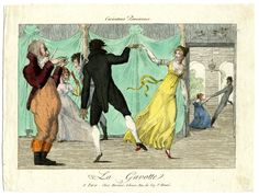 A.Martinet, Caricatures Parisienne, A couple dance a gavotte in a ball-room, watched by an applauding man; in the background two other couples, one dancing, one seated. c.1802