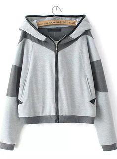 Grey Hooded Long Sleeve Pockets Jacket 32.50