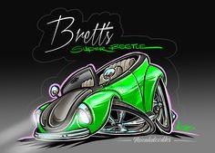 Get CARtooned drawings of your vehicle. Dope Cartoon Art, Cartoon Pics, Cartoon Drawings, Cars Cartoon, Airbrush Designs, Airbrush Art, Lowrider Drawings, Beetle Drawing, Volkswagen
