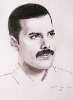 Freddie Mercury (Queen) pencil drawing (portrait) by Gabriella Toth